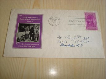 Washington Inauguration 1939 USA förstadagsbrev FDC