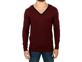 Costume National - Bordeaux striped wool V-neck sweater