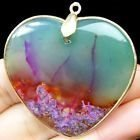 Wrapped Multi Color Fire Agate Heart Pendant 45x48x4mm Hänge
