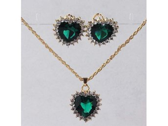 Set örhängen & Halsband necklace earrings hearts green smaragd emerald