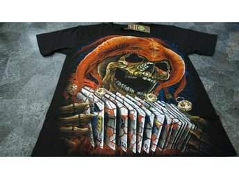 T-Shirt. Svart. Rock. Skull. Cards. Medium - Solna - T-Shirt. Svart. Rock. Skull. Cards. Medium - Solna