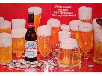 BUDWEISER BEER - MORE GLASSES ARE FILLED, STOR TIDNINGSANNONS Retro 1968