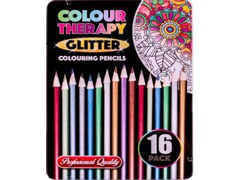 Colour Therapy 16-Pack Glitter Pennor, Måla, Rita, Relax