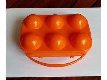 Orange äggbox i plast Hammar-plast retro