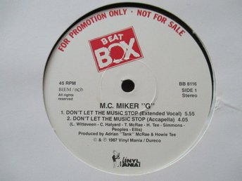 "Beat Box promo 12"" maxi: MC MIKER G - DON´T LET THE MUSIC STOP"