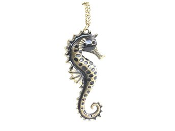 Vintage Black Seahorse Enamel Long Chain Necklace