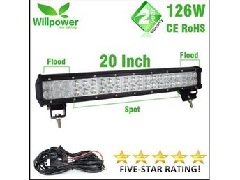 Led extraljus ramp combo 126w 20 inch inkl kabelsats