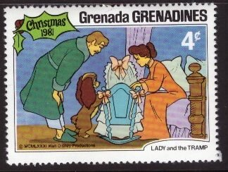 Disney, Grenada, Grenadines, 4-cent Lady and the Tramp, Scott 454