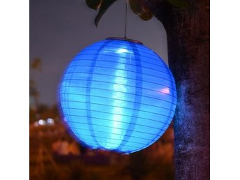 2st LED Lampa Round Blue Solar Lantern Led Lampor For Festive Party Decorative
