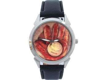 Baseball Herrar Dammodell Analog Quartz Sport Läder Armbandsur Presenter