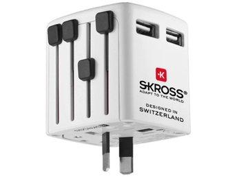 SKROSS adapter, 2X USB Typ A ho 5V 1,3A till EMEA/US/UK/AU 100-250V - Norsborg - SKROSS adapter, 2X USB Typ A ho 5V 1,3A till EMEA/US/UK/AU 100-250V - Norsborg