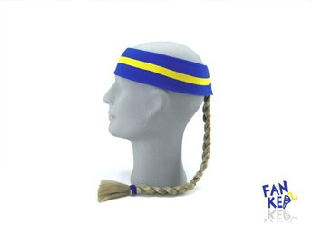 pannband i gult och blått, Fankeps, one size, frotté, blond fläta - Bocholt - pannband i gult och blått, Fankeps, one size, frotté, blond fläta - Bocholt