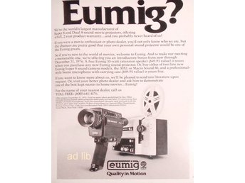 EUMIG SUPER 8 AND DUAL 8 QUALITY IN MOTION TIDNINGSANNONS Retro 1976