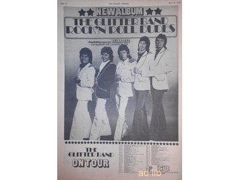THE GLITTER BAND - ROCK 'N ROLL DUDES, ON TOUR, STOR TIDNINGSANNONS 1975