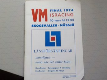 Program VM Isracing 1974 Skogsvallen Nässjö