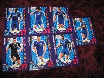 7 ST CHELSEA FOTBOLLS KORT PREMIER LEAGUE 2016-2017 MATCH ATTAX