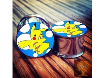 Nya Pokémon Pikachu piercing plugs 00g 10mm Kawaii stretch töjning tunnlar öra