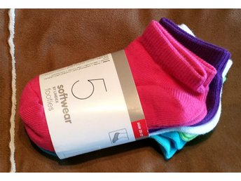 5 Par Softwear Footies Strumpor Sockar Stl. 25-27