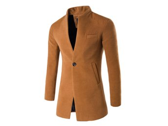 Mens One Button Business Wool Long Coat Wool Jackets Outwear Parkas Overcoat