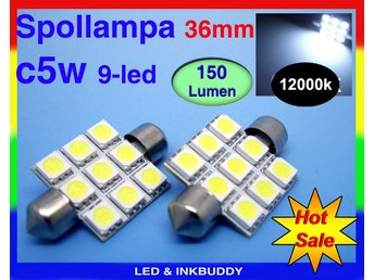 Spollampa 36mm Led lampa med 9st 5050smd chip 12000K  C5W SV8.5  2-pack  39:-