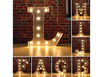 Vintage Metal LED Light DIY Letter A to M Sign Carnival W...
