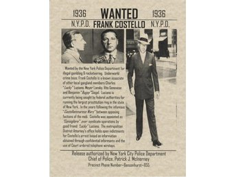 WANTED POSTER FRANK COSTELLO N.Y.P.D. 1936