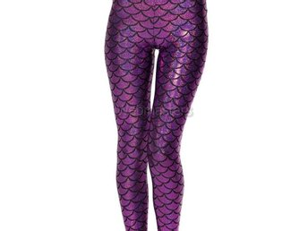 Leggings Lila Mermaid Scales Medium Strumpor Tights Strumpbyxor Aquaman Purple