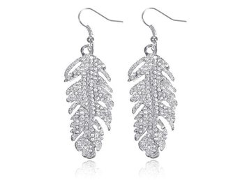 Örhängen Crystal Feather Earrings Silver