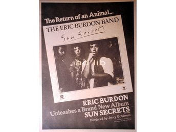 ERIC BURDON BAND (ANIMALS) - SUN SECRETS, TIDNINGSANNONS 1975