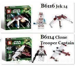 Nya! 2 st Star Wars byggset med figurer / Jek 14 & Clone Trooper Captain