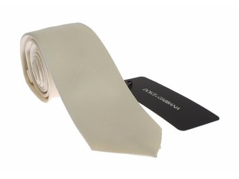 Dolce & Gabbana - Men White Solid Silk Skinny Tie