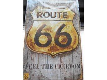 PLÅTSKYLT c:a 30x20 cm ROUTE 66 FEEL THE FREEDOM - älvkarleby - PLÅTSKYLT c:a 30x20 cm ROUTE 66 FEEL THE FREEDOM - älvkarleby