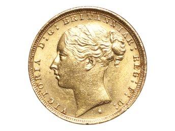 Australien Victoria Guldmynt 1887-S Sovereign St.George - London - AUSTRALIA. Victoria, 1837-1901. Gold Sovereign, 1887-S. Sydney. St.George. GVF.Reference: S.3858E, Marsh 124Mintage: 1,000,000Diameter: 22.05 mm.Weight: 7.988 g.Composition: 916.66/1000 GoldThe Coin Cabinet drivs av Andeas Afeldt, företaget är  - London