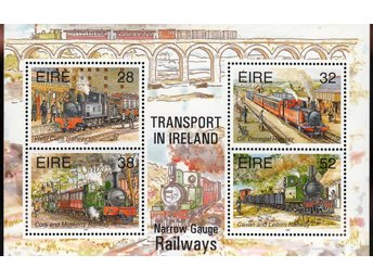 Block - Irland - Tåg - Transport in Ireland - Ostämplat - Postfriskt