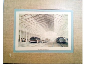 Bath Station, litografi av J.C. Bourne, printed by C.P.Chettins  i ram.