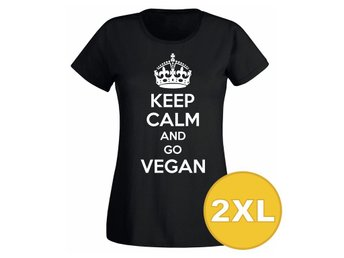 T-shirt Keep Calm Go Vegan Svart Dam tshirt XXL