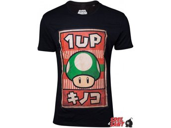 Nintendo Propaganda Poster 1 Up T-Shirt Svart (Medium)