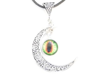 Onda ögat måne halsband / Evil eye moon necklace