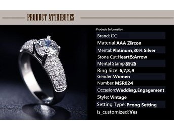 White Gold 18k Plated Platinum Filled Fashion Rings For Women Zirconia Diamond