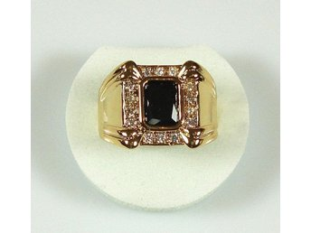 Goldfilled, 18K Guldfylld Ring med svart Onyx, 20,6mm