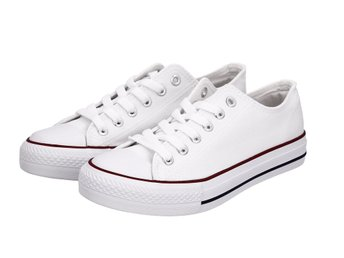 f80071eb428 Nya Vita Sneakers Loafers Tygskor Med Snörning Dam Herr Sko Sommar Skor Stl  38