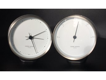 Georg Jensen Väggklocka och termometer dansk design Henning Koppel stålvit