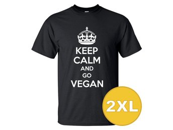 T-shirt Keep Calm Go Vegan Svart herr tshirt 2XL
