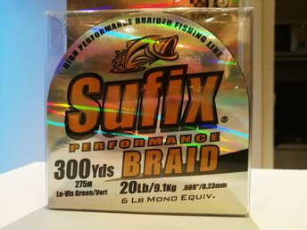 Sufix performance 20lb/9.1kg, 0.23mm, 275m, grön