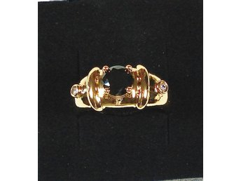 Goldfilled, 18K Guldfylld Ring med svart Onyx, 20,7mm
