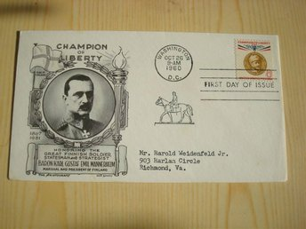 Champion of Liberty Mannerheim Finland 1960 USA förstadagsbrev