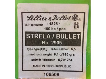 80 projektiler 6,5 mm (Sellier & Bellot ) , 9,1 gram FMJ