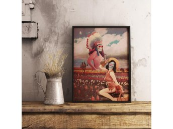 collage art print poster tavla cowboy boho indian native dita von teese pinup ny