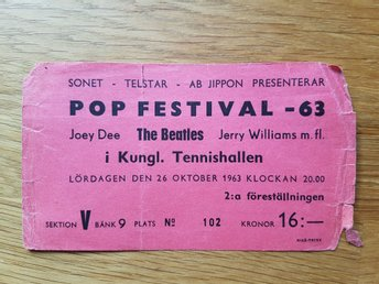 Konsert  biljett The Beatles 26 oktober 1963 Kungliga tennishallen pop festival