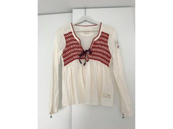 Odd Molly, blus, top, off-white, vinröd, strl 2 (M)